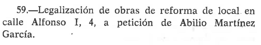 Abilio Martínez en el Boletín Municipal de Zaragoza, 1977